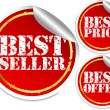 Best seller, best price and best offer stickers, vector illustration — Stock Vector