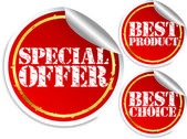 Special offer, best product and best choice stickers, vector illustration — Stock Vector