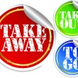 Take away, take out and to go stickers, vector illustration — Stock Vector
