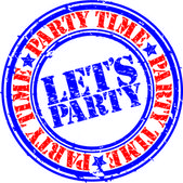Grunge let's party rubber stamp, vector illustration — Stock Vector