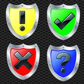 Indicazioni di sicurezza di scudo, vector illustartion — Vettoriale Stock