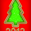 Happy new year 2012 tree, golden with diamonds, vector illustartion — Stock vektor #8023986