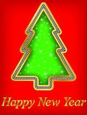 Gelukkig Nieuwjaar boom, gouden met diamanten, vector illustartion — Stockvector