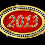 New year 2013 icon with diamonds, vector — Stock Vector
