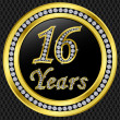 16 years anniversary golden icon with diamonds, vector illustration - Stock Vector