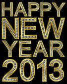 Neujahr 2013 goldene, mit Diamanten, Vektor-illustration — Stockvektor