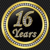 16 years anniversary golden icon with diamonds, vector illustration — Stock Vector