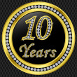 10 years anniversary, happy birthday golden icon with diamonds, vector illu — Stock Vector