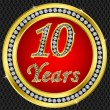 10 years anniversary, happy birthday golden icon with diamonds, vector illu - Stock Vector