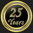 25 years anniversary, happy birthday golden icon with diamonds, vector illu — Vettoriali Stock