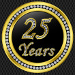 25 years anniversary, happy birthday golden icon with diamonds, vector illu — Stockvektor