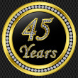 45 years anniversary, happy birthday golden icon with diamonds, vector illu — Stock Vector