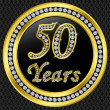 50 years anniversary, happy birthday golden icon with diamonds, vector illu — Stock Vector #8412050