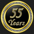 55 years anniversary, happy birthday golden icon with diamonds, vector illu — Stock Vector #8412067
