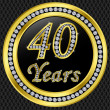 40 years anniversary, happy birthday golden icon with diamonds, vector illu — Stock Vector