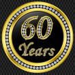 60 years anniversary, happy birthday golden icon with diamonds, vector illu — Stock Vector
