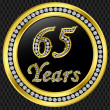 65 years anniversary, happy birthday golden icon with diamonds, vector illu - Stock Vector