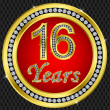 Royalty-Free Stock Vector Image: 16 years anniversary, happy birthday golden icon with diamonds, vector illu