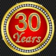 30 years anniversary, happy birthday golden icon with diamonds, vector illu - Stock Vector