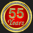 55 years anniversary, happy birthday golden icon with diamonds, vector illu — Stock Vector
