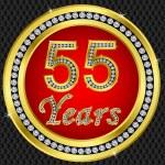 55 years anniversary, happy birthday golden icon with diamonds, vector illu — Stock Vector