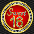 Stockvector : Sweet 16 years anniversary, happy birthday golden icon with diamonds, vecto
