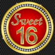 Sweet 16 years anniversary, happy birthday golden icon with diamonds, vecto — Imagen vectorial