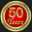 50 years anniversary, happy birthday golden icon with diamonds, vector illu - Stock Vector