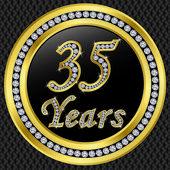 35 years anniversary, happy birthday golden icon with diamonds, vector illu — Stock Vector