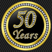 50 years anniversary, happy birthday golden icon with diamonds, vector illu — Stock Vector
