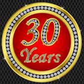 30 years anniversary, happy birthday golden icon with diamonds, vector illu — Stock Vector
