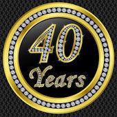40-летие, с днем рождения золотой значок с бриллиантами, вектор иллю — Cтоковый вектор