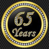 65 years anniversary, happy birthday golden icon with diamonds, vector illu — Stock Vector