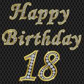 Gelukkige verjaardag 18, gouden met diamanten, vector illustratie — Stockvector