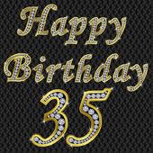 Happy 35 birthday, golden with diamonds, vector illustration — Stock Vector