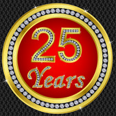 25 years anniversary, happy birthday golden icon with diamonds, vector illu — Stock Vector