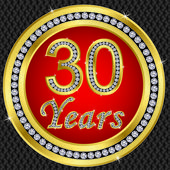 30 years anniversary, happy birthday golden icon with diamonds, vector illu — Stock Vector