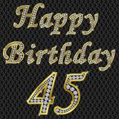 Happy 45 birthday, golden with diamonds, vector illustration — Stock Vector