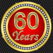 60 years anniversary, happy birthday golden icon with diamonds, vector illu — Stock Vector