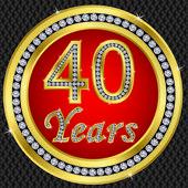 40 years anniversary, happy birthday golden icon with diamonds, vector illu — Stock Vector