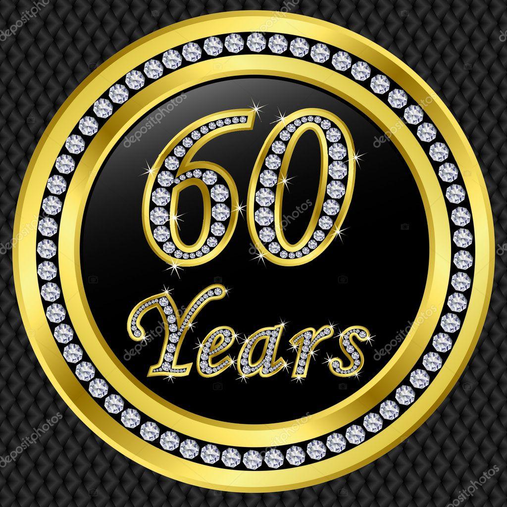 60 years anniversary happy birthday golden icon with for 60 wedding anniversary symbol