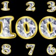 Royalty-Free Stock Vector Image: Diamond numbers with golden frame, vector illustration