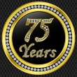 75 years anniversary, happy birthday golden icon with diamonds, vector illu - Stock Vector