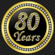 80 years anniversary, happy birthday golden icon with diamonds, vector illu - Stock Vector