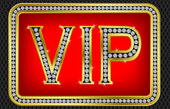 Vip pass card, golden with diamonds, vector — Stockvector
