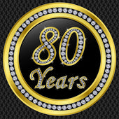 80 years anniversary, happy birthday golden icon with diamonds, vector illu — Vector de stock