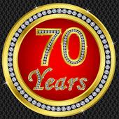 70 years anniversary, happy birthday golden icon with diamonds, vector illu — Stock Vector