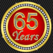 65 years anniversary, happy birthday golden icon with diamonds, vector illu — Stock Vector