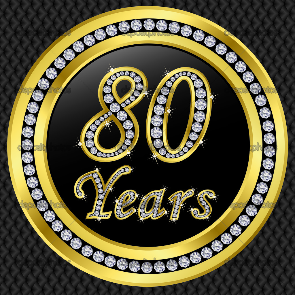80 years anniversary with diamonds — Stock Vector ...