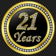 21 years anniversary, happy birthday golden icon with diamonds, vector illu - Stock Vector